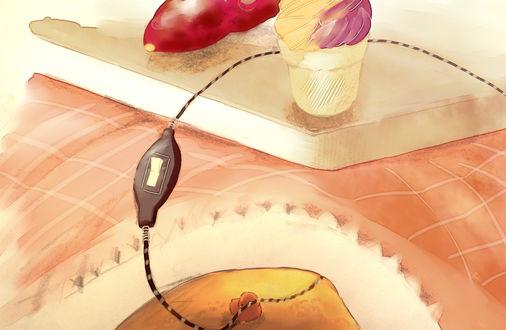 Обои Птичка держит в клюве провод с включателем, by チャイ
