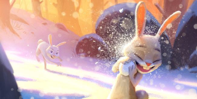 Обои Зайчата весело играют в снежки, by Fredrik-Rattzen
