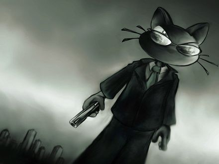 Обои Кошачий агент в темных очках и с пистолетом