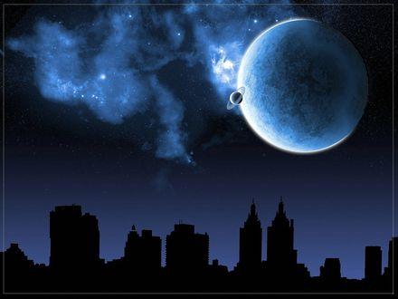 Обои Черный силуэт города на темно-синем фоне ночного неба с планетами и облаками
