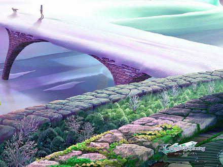 Обои По занесенному снегом каменному мосту идет девушка с собакой, by KAGAYA