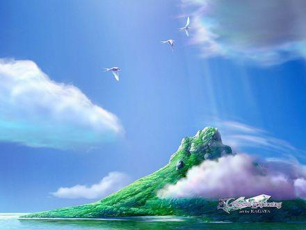 Обои Белые ласточки летят над зеленым островом, by KAGAYA