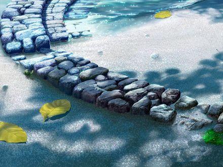 Обои Каменный мостик на воде, на которой плавают желтые листья, by KAGAYA