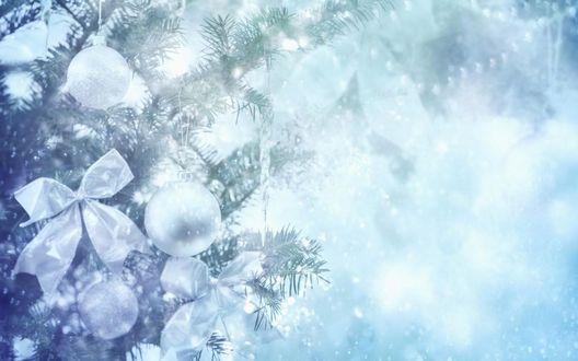 Обои Шарики и банты на заснеженной новогодней елке в тумане