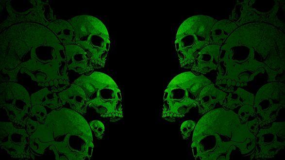 Обои Горы зеленых черепов на черном фоне