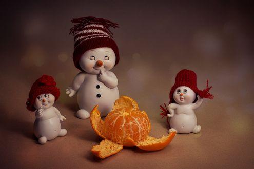 Обои Новогодние снеговики в шапочках и мандарина перед ними, фотограф Юлия Густерина