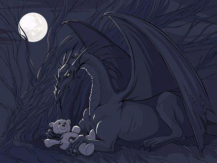 Обои Огромный дракон лежит под деревом и с нежностью держит в лапах плюшевого медвежонка