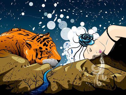 Обои Огромные тигр и девушка с розой в волосах спят на гористых берегах реки
