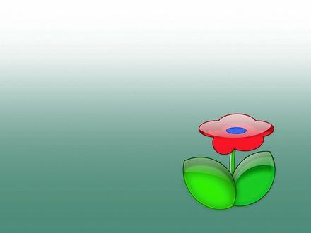 Обои Красный стеклянный цветок с зелеными стеклянными листьями