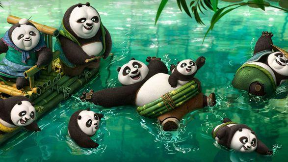 Обои Панды в воде и им очень весело, мультфильм Kung Fu Panda 3 / Кунг-фу Панда 3, 2016г