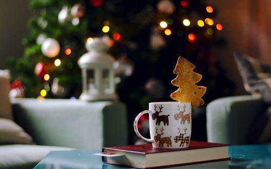 Обои Чашка с печеньем стоит перед новогодней елкой
