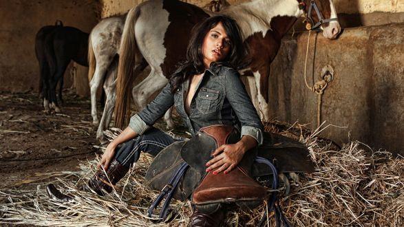 Обои Richa Chadda / Рича Чадда рядом с красивыми лошадьми