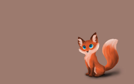 Обои Рыжая лисичка с голубыми глазами на светлом фоне