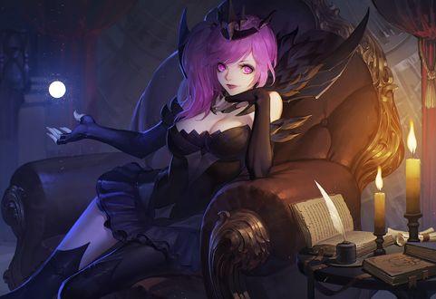Обои Luxanna Crownguard / Люксанна Краунгард сидит в кресле, персонаж из игры League of Legends / Лига легенд, by daye bie qia lian
