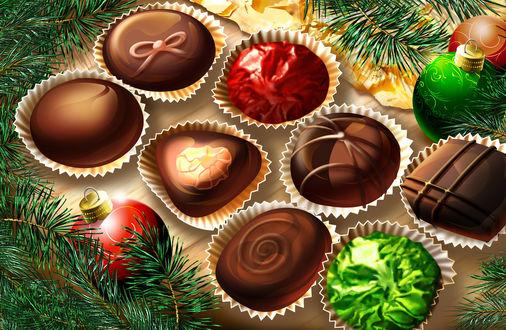 Обои Различные шоколадные конфеты в окружении новогодних шариков и еловых веток