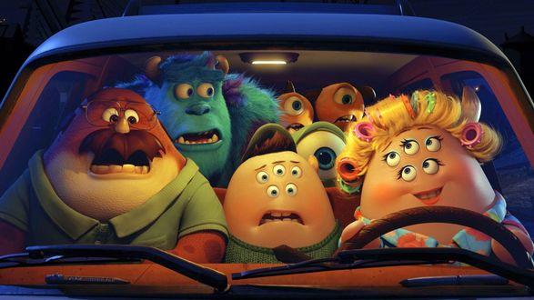 Обои Монстры едут в машине, мультфильм Monsters University / Университет монстров