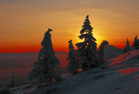 Обои Зимний закат в феврале на Колыме, вид с сопки Три Медведя, фотограф. Владимир Рябков
