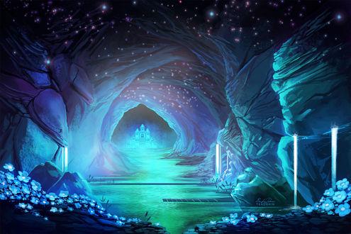 Обои Замок у воды в подземной пещере, арт по игре Undertale, by TsaoShin