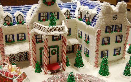 Обои Большой пряничный домик к Новому году