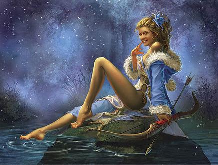 Обои Девушка сидит на камне, в руке лук со стрелой, ногой касается воды вокруг нее
