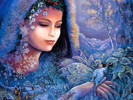 Обои Девушка-снегурочка держит в руках эльфа на фоне зимнего леса, деревни, художница Josephine Wall / Жозефина Уолл