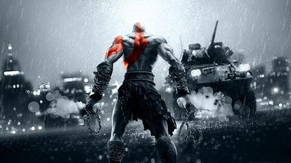 Обои Kratos / Кратос из игры God of War / Бог войны на фоне города под дождем