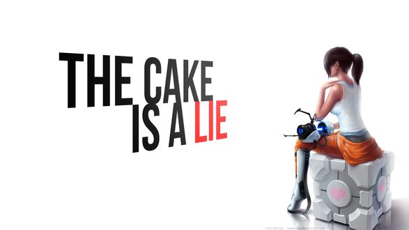 Обои Chell / Челл из игры Portal с портальной пушкой сидит на кубе компаньоне и надпись (The cake is a LIE / Торт это обман)
