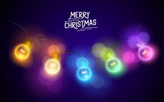 Обои Гирлянда и надпись (Merry Christmas / Счастливого Рождества)