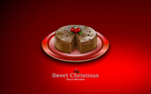 Обои Шоколадный торт с вишней на тарелке (Sweet Christmas, Dulce Navidad)