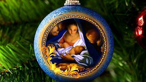 Обои Рождественский шар игрушка с рисунком рождения Христа