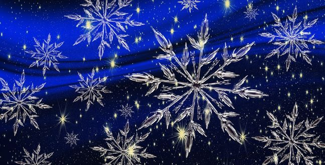 Обои Белые снежинки на синем фоне