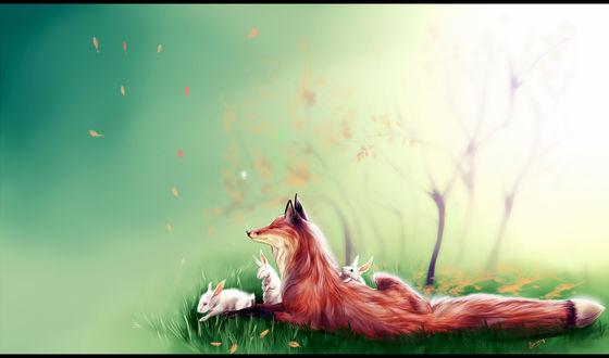 Обои Лисица лежит в траве в окружении кроликов, by Ginseng-fox