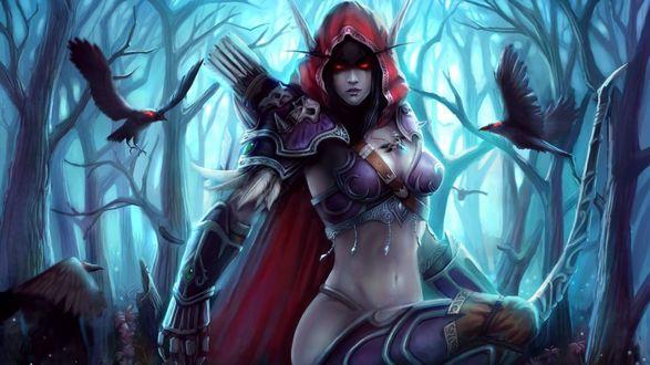 Обои Леди Сильвана Ветрокрылая в лесу, около нее вьются два ворона, игра World of Warcraft