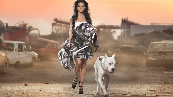 Обои Певица INNA / Инна с белой собакой