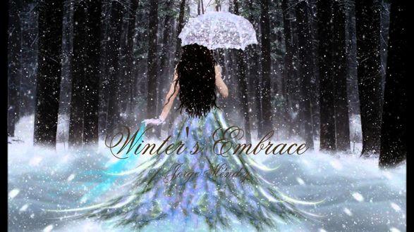 Обои Девушка с белым зонтиком в лесу под снегом (Winter Embrace)