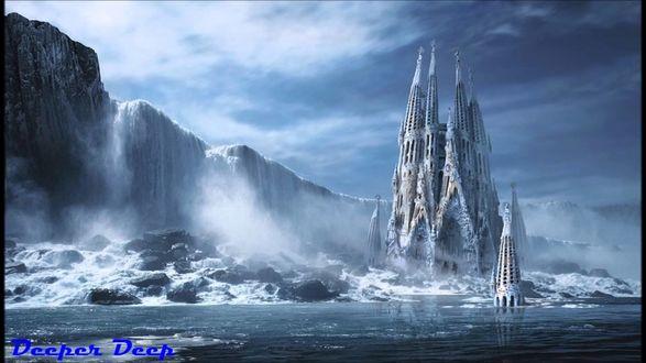 Обои Замок возвышается из воды возле ледяной стены, by George Grie