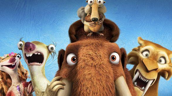 Обои Мэнни, Сид, Диего, Элли, Скрэт - персонажи мультсериала Ледниковый период