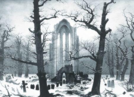 Обои Развалины старинного замка и кладбище среди голых деревьев зимой