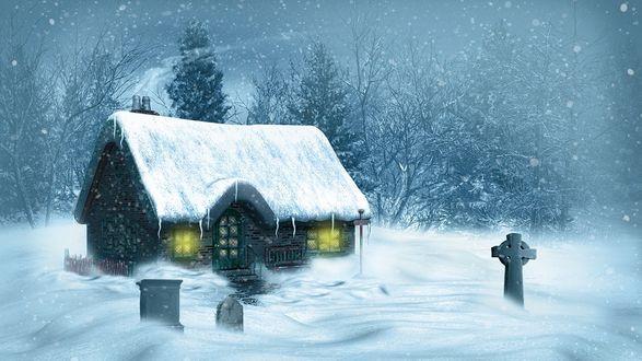 Обои Домик и кладбище под снегом зимой среди деревьев