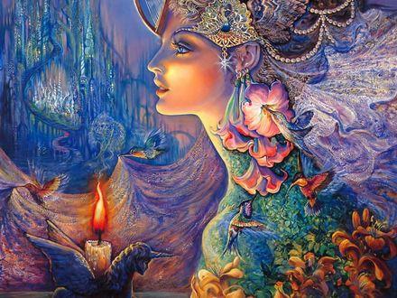 Обои Девушка с рисунками цветов, птиц, украшений на голове, на теле, рядом горящая свеча на фоне фантастического пейзажа, автор Жозефина Уолл