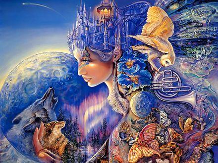 Обои Девушка с рисунком города, цветов, птиц и бабочек на голове, на теле, в руках волки на фоне фантастической природы, автор Жозефина Уолл
