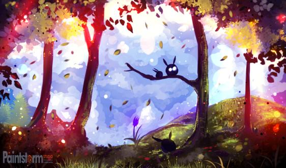 Обои Три зверюшки в осеннем лесу, by ryky