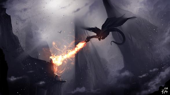 Обои Воин сражается с драконом, by ryky