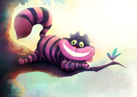 Обои Cheshire Cat / Чеширский Кот из сказки Alice in Wonderland / Алиса в стране чудес, by banana-fox