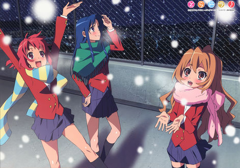 Обои Айсака Тайга / Aisaka Taiga, Ami Kawashima и Minori Kushieda / Минори Кушиеда радуются первому снегу из аниме ТораДора / ToraDora, art Yasu