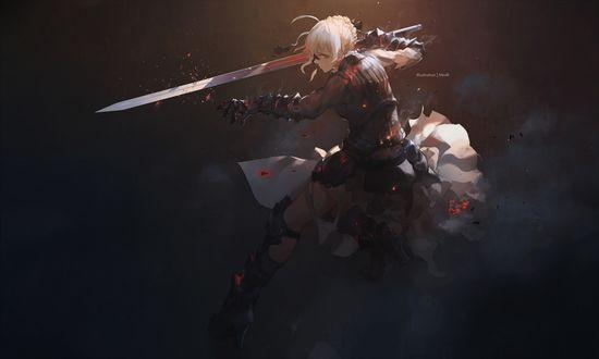 Обои Сайбер / Saber сражается с мечом в руке из аниме Судьба / Ночь схватки / Fate / Stay Night