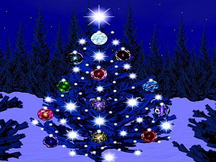 Обои Новогодняя елка с гирляндами и игрушками в новогоднюю ночь