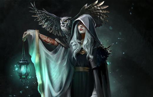 Обои Девушка с фонарем в руке и совой на плече, by Julia Kovalyova