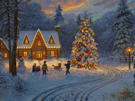 Обои Дети и собака играют в снежки на фоне дома и украшенной гирляндой новогодней елки, художник Mark Keathley