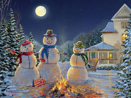 Обои Три снеговика у костра на фоне ночного пейзажа с домом и заснеженными елками, художник Sam Timm